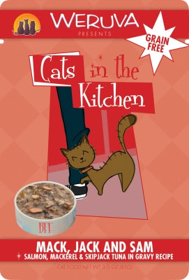 Cats in the Kitchen:  Mack, Jack & Sam