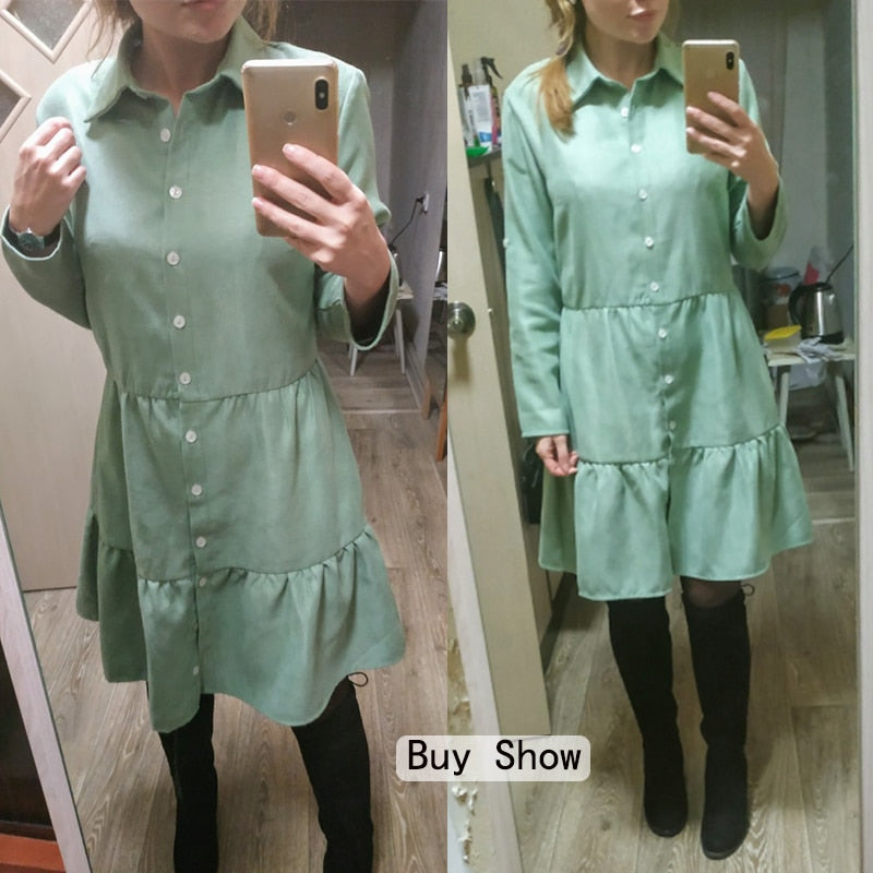 Shirt Dress Long Sleeve Women Clothing Autumn Winter Dress Button Turn-down Collar Ladies A-line Mini Party Dress 2020 Vestidos