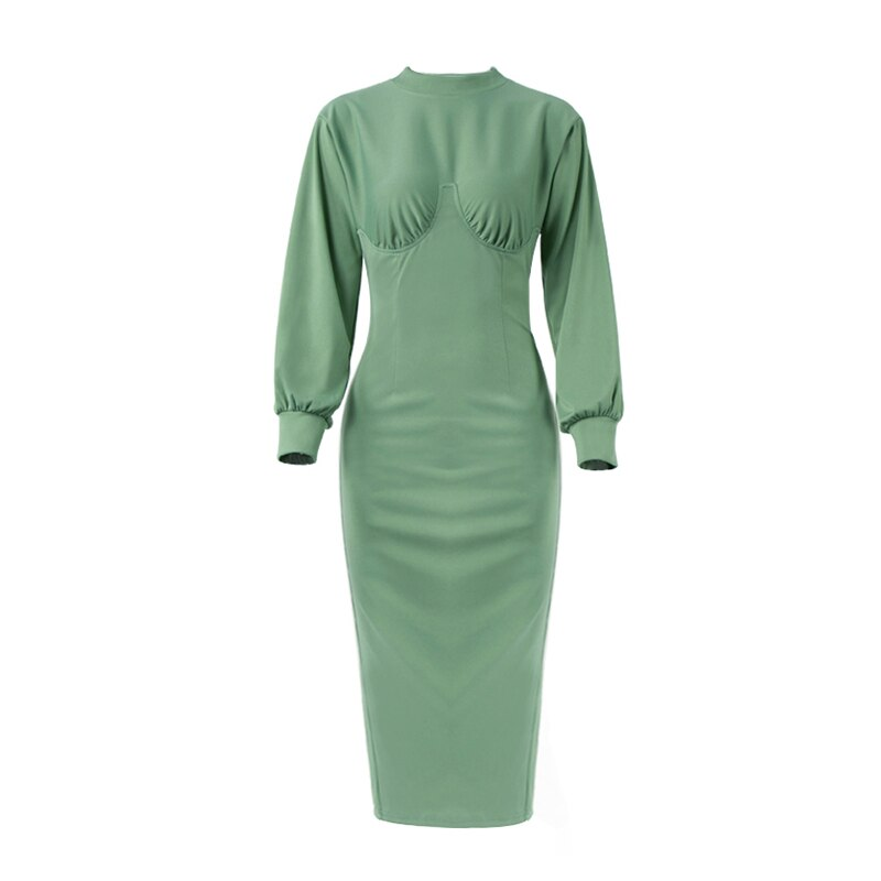 OOTN Turtleneck Winter Women Dress Elegant Autumn Midi Dress Long Sleeve Green High Waist Solid Casual Ladies Dresses Tunic 2020