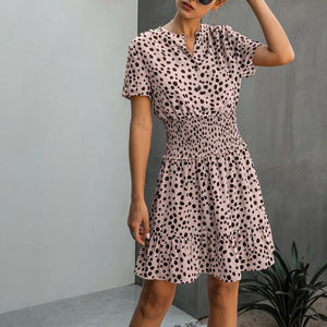Dress Women Leopard Casual Black Summer Ruffle Mini Dresses Buttons Ladies Purple Waisted Fitted Clothing 2020 Womens Clothes