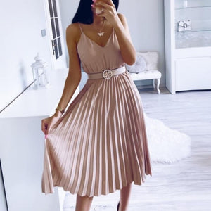 Simplee Sexy v-neck women party dress Elegant spaghetti strap female pleated office dress Solid female pink midi summer dresses