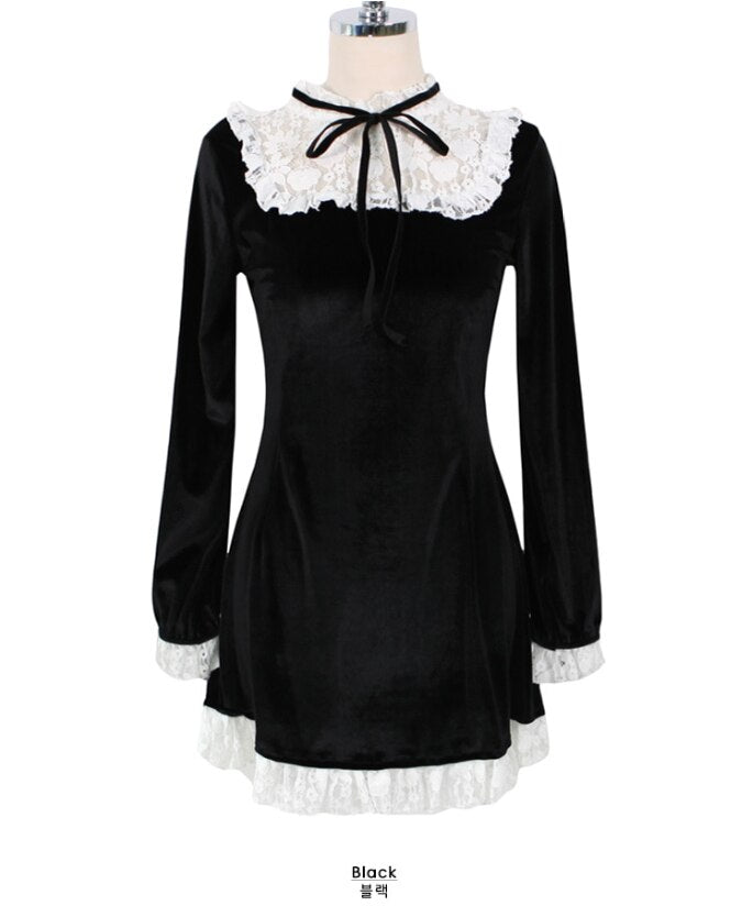 S XL New Autumn Dress Girls Female Vintage Long Sleeve Women Dresses Robe Vestido velvet black dress Christmas party dress lace