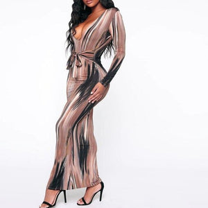 Hugcitar 2019 long sleeve print V-neck bandage sexy long dress autumn winter women christmas party elegant outfits streetwear
