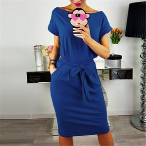2020 Summer Fashion Ladies Sheath Dress Casual O-Neck Short Sleeve Slim Sashes Dresses Women Elegant Bodycon Vintage Vestidos