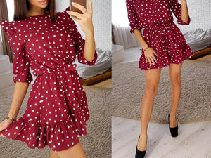 Fashion Ruffle Trim Sashes Women Summer Dress 3/4 Sleeves Round Neck Dot Print Casual Dress Girls Sweet Cute A Line Mini Dresses