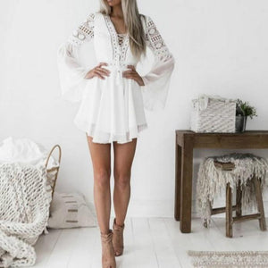 Dress Women 2020 Fashion White Black Hollow Out Lace V-neck Strap Long Sleeve Chiffon Dress Mini Dresses Casual For Elegent Lady