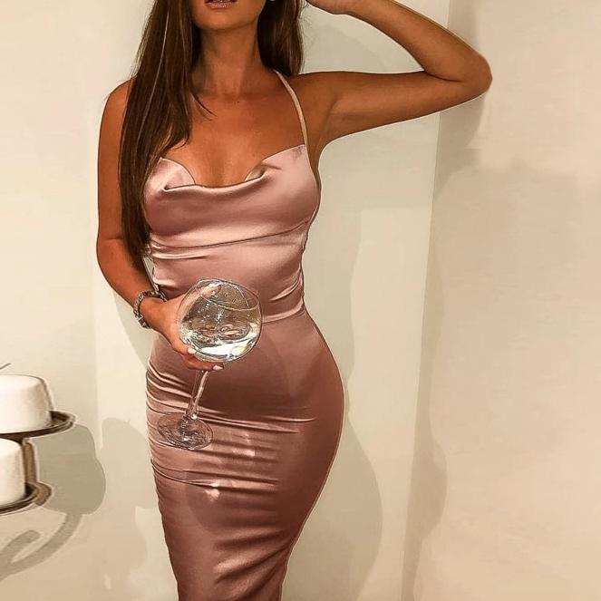 neon satin lace up summer women bodycon long midi vintage backless elegant party outfits sexy club clothes vestido dress robe