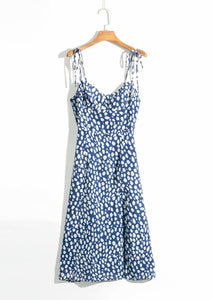 Bazaleas Elegant Adjust Spaghetti straps vestido Blue Leopard Print women midi dress Vintage Elastic Bust Side Split women dress
