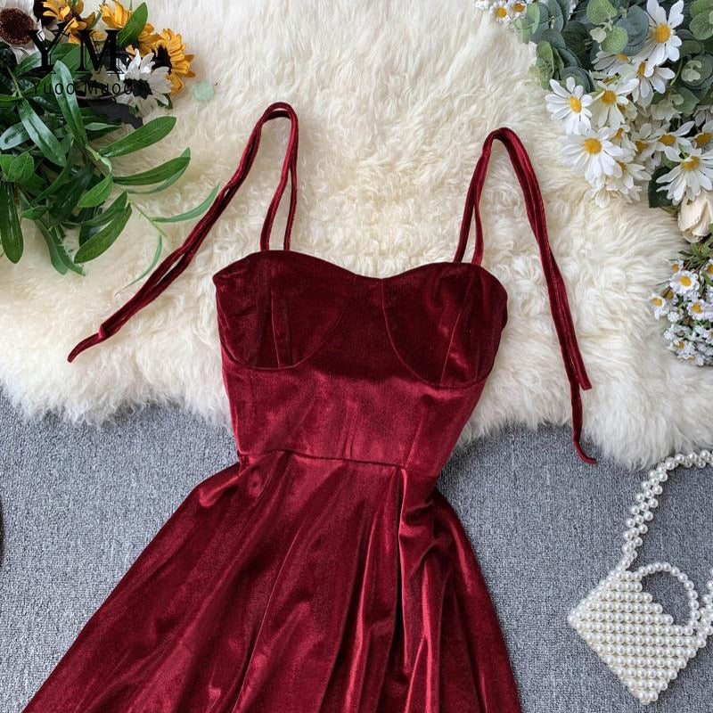 YuooMuoo Elegant Vintage Gothic Spaghetti Strap Dress 2019 Early Fall Basic Women Short Party Dresses Slim High Waist Mini Dress