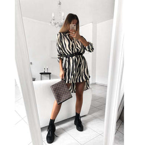 Fashion women leopard dress elegant long-sleeved party dress V-neck Snake Print dress Sexy woman clothing vestido Streetwear