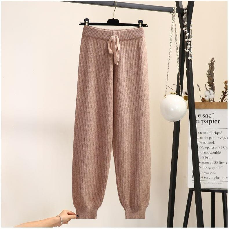 Sweatpants Women Elegant Solid All-match Elastic Waist Loose Harem All-match High Stretchy Casual Daily Soft Womens Trousers New