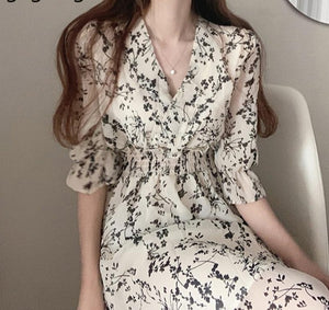 Gaganight Women Retro Floral Dress Cross V Neck Wooden Ear Slim Long Vestido Summer Elegant Chiffon Short Sleeve Dresses Femme