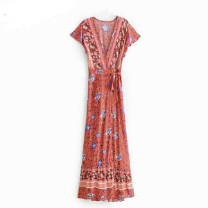 Vintage chic vestidos women Floral print bat sleeve beach long Bohemian maxi dress Ladies sexy V neck Summer Boho happie dress