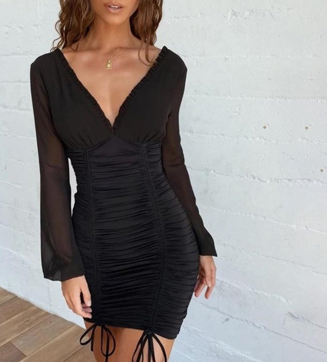 Macheda Solid Sexy Party Dresses Women Mesh Long Sleeve V-Neck Slim Spliced Drawstring Ruched Bodycon Elastic Lady Casual Dress