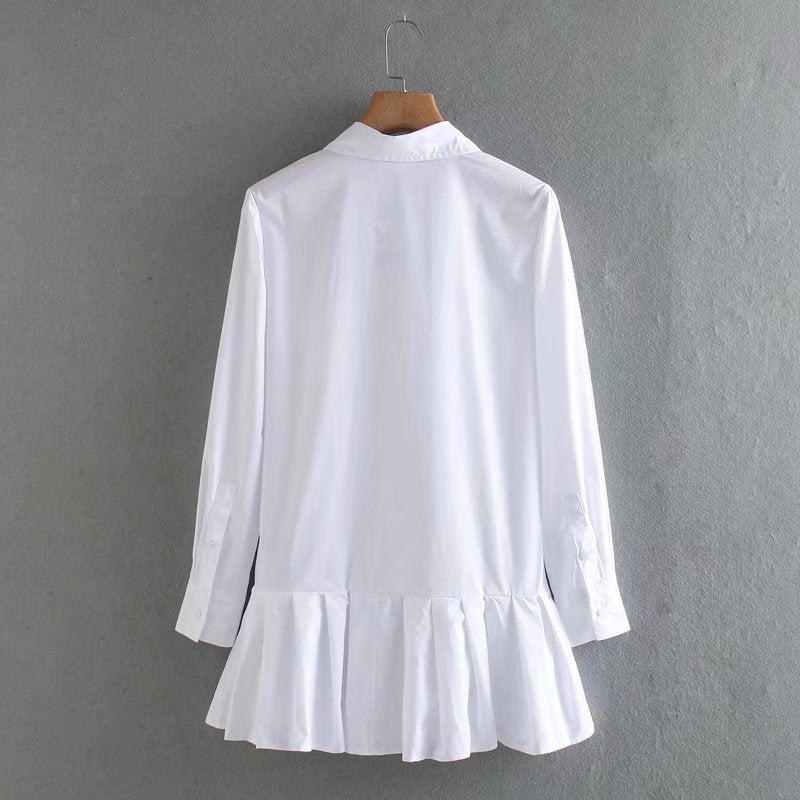 2020 New women solid color hem pleated white mini dress elegant long sleeve chic vestidos business women clothing dresses DS3532