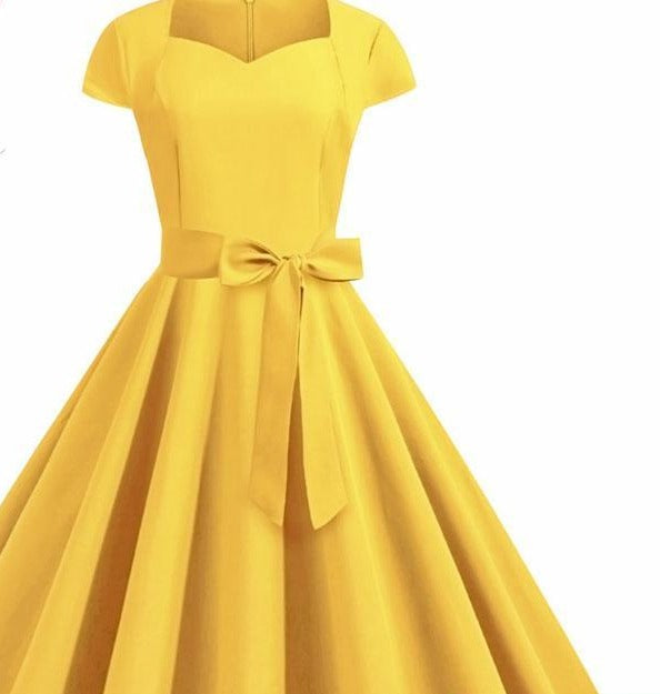 Summer Solid Yellow Color 50s 60s Vintage Dress Women Short Sleeve Square Collar Elegant Office Party Midi Dresses Belt