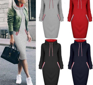 Dress Women Autumn Winter Sweatshirt Dress 6 Colors Slim Long Sleeves Turtleneck Drawstring Harajuku Hoodies Moletom Feminino Ez