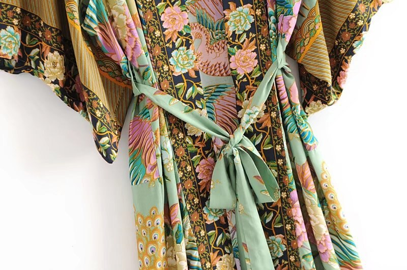 Boho women peacock floral print bat sleeve beach Bohemian Kimono robe Ladies V neck Tassel Summer happie dress vestidos