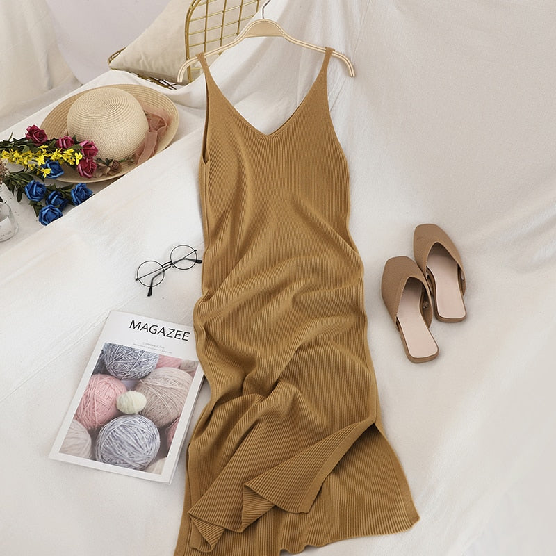 OCEANLOVE V Neck Solid Knitted Dresses Casual All Match Simple Fashion Korean Women Dress Elegant Vestidos New Clothes 15517