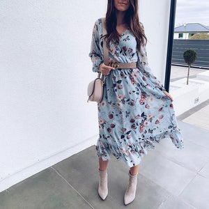 BEFORW 2020 Blue Long Sleeve Women Boho Dress Floral Print Chiffon Dresses Ruffles Female Summer Holiday Casual Dress Vestidos