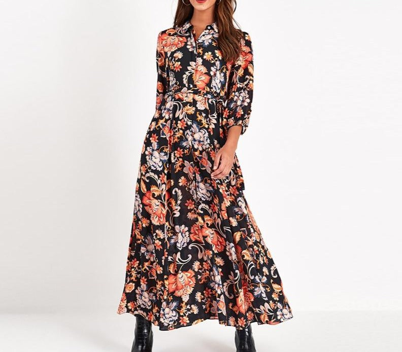Aachoae Vintage Floral Print Maxi Dress Women Boho Three Quarter Sleeve Long Dress Turn Down Collar Casual Shirt Dresses Robe