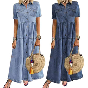 Plus Size Dresses for Women Short Sleeve Dress Casual Loose Pockets Button Turn Down Collar Summer Dress Mixi Dress for Women