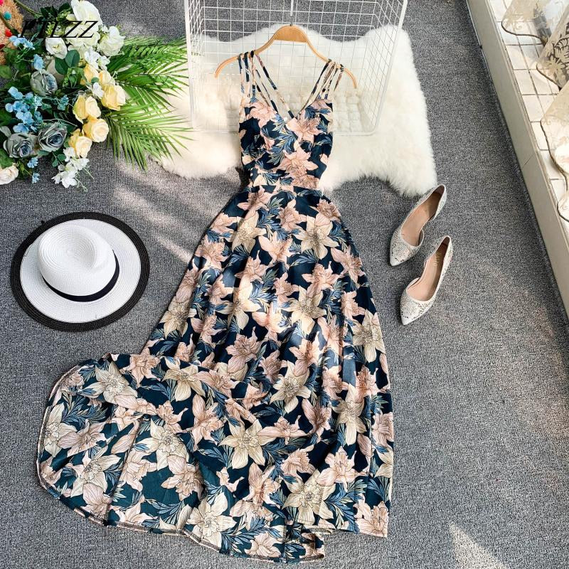 FTLZZ 2020 Women Floral Print Dress Summer Sexy V-neck Backless Long Dresses Female Elegant Bohemian Party Dress Vestido