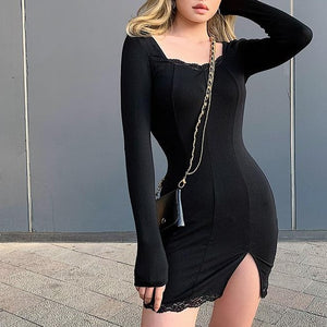 Rockmore Split Lace Sexy Mini Dress Women Transparent Long Sleeve Bodycon Square Collar Above Knee Dresses Party Dress Vedtidos