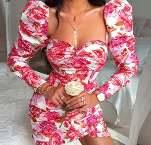 Hugcitar 2019 long sleeve floral print ruched ruffles mini dress autumn winter women party cute outfits streetwear