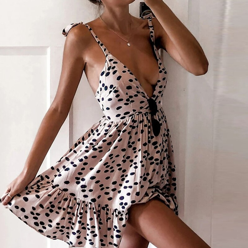 New Off Shoulder Deep V Neck Summer Dress 2020 Elegant Polka Dot Floral Print Dresses For Women Sexy Backless Ruffle Party Dress