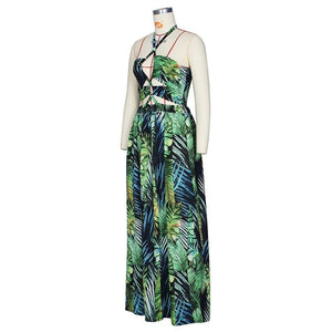 Stigende Women Bohemian Palm Leaf Maxi Dress Sexy High Split Backless Halter Dress Casual Sleeveless Bandage Green Long Dress