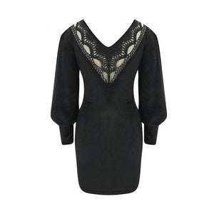 Sexy Women Autumn Pencil Dress Hollow Out Design Lace Decor See Through V-Neck Lantern Long Sleeve Solid Slim Hips Mini Dress
