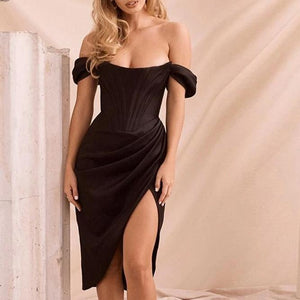 Justchicc Summer Black Off Shoulder Sexy Dress Women High Split Strapless Club Bodycon Dress Backless Elegant Midi Party Dresses