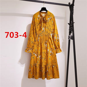 Fashion za Korean style Summer Shirt Dress Women Party Red Chiffon Vintage Dot Floral Long Sleeve V Neck Pleated Office Beach es