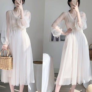 Dress women 2020 autumn plus size dress elegant button A-Line vestidos Solid Puff Sleeve Empire V-Neck lace voile mesh 8126 50