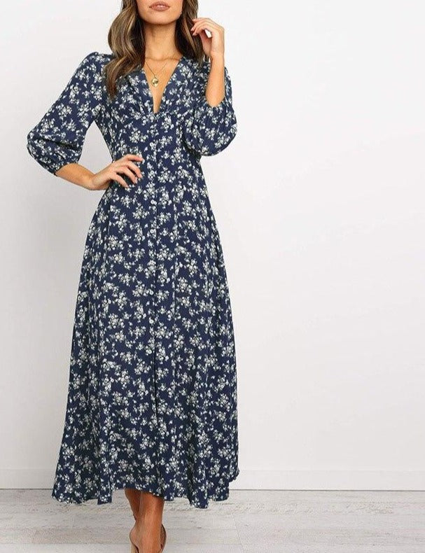 Women Chiffon Long Dress Floral Print Lantern Sleeve A-line Maxi Vestidos Autumn New Elegant Vintage V Neck Winter Dresses