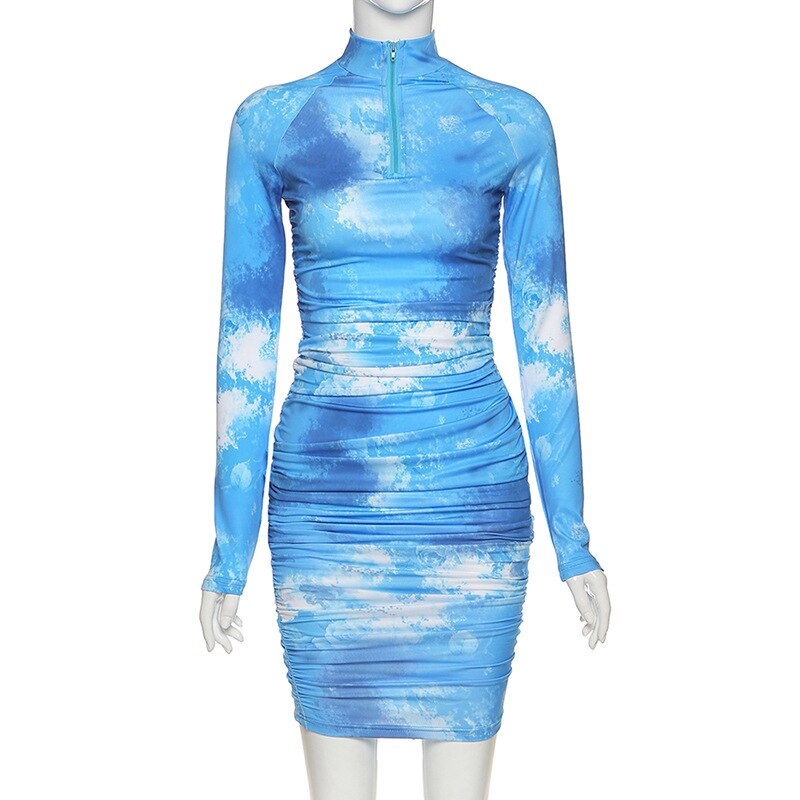 Simenual Tie Dye Print Fashion Women Midi Dress Long Sleeve 2020 Bodycon Party Dresses Skinny Ruched Clubwear Slim Basic Dress