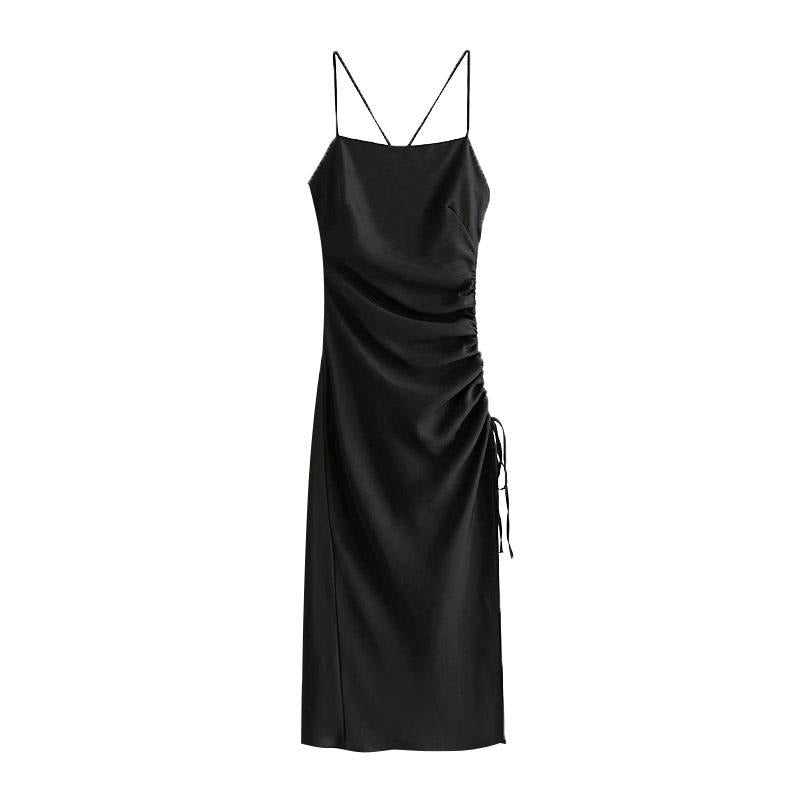 KPYTOMOA Women 2020 Chic Fashion Draped Detail with Adjustable Tie Midi Dress Vintage Backless Side Zipper Straps Female Dresses