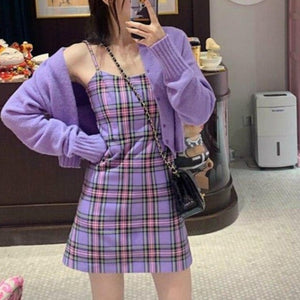 Sleeveless Dress Women Strap A-Line Casual Plaid Printed Midi Sexy Ladies Slim Bodycon Elegant Off Shoulder Trendy Chic Party
