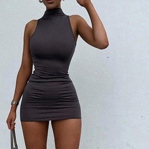 Simenual Sleeveless Casual 2020 Summer Fashion Women Mini Dress Street Style Skinny Bodycon Solid Basic Slim Female Dresses Hot