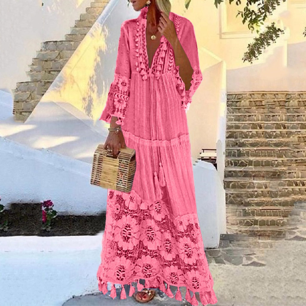 Autumn Fashion Casual Party Bohemian Large Size V-Neck Solid Color Lace Tassel Long Dress Wholesale Free Ship платье Z4
