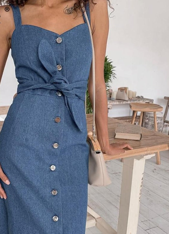 Simplee Sexy long women denim dress with belt Vintage female buttons denim dress Spring autumn slim ladies office dress 2020