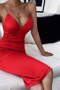 CNYISHE Elegant Satin Dresses for Women Solid Red Black Midi Dress 2020 Fashion Winter V-neck Ladies Christmas Dress Party Night
