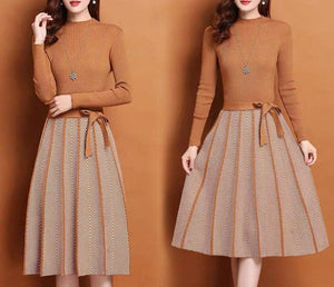 Women Dress Simple Elegant Dress Spring Autumn Winter O-Neck Long Sleeve A-line Knitted Midi Dress Plus Size vestidos de festa