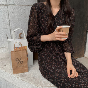 BGTEEVER Vintage V-neck Buttons Lace-up Female Chiffon Dress Full Sleeve Midi Dress Elegant Casual Floral Print Women Dress 2020