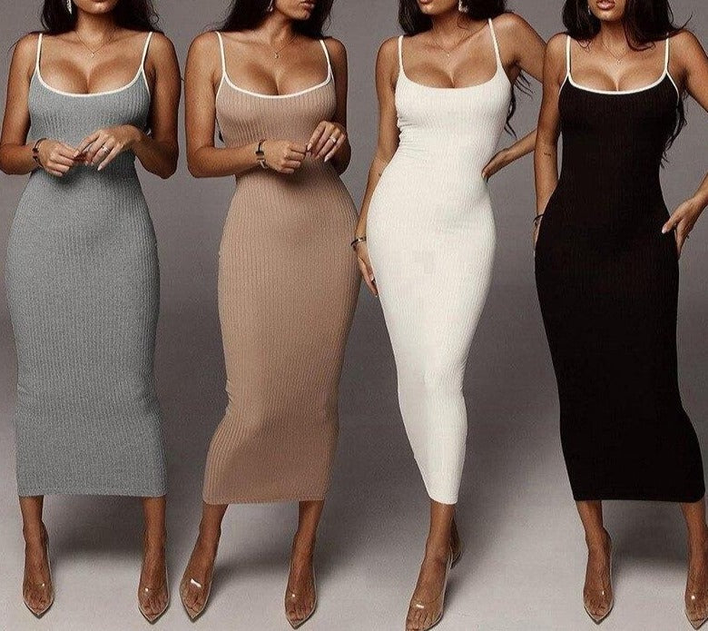 Sexy Women Clothes Summer Dress Fashion Slim Bodycon Club Party Long Dresses White Black Spaghetti Strap Elastic Knitted Dress