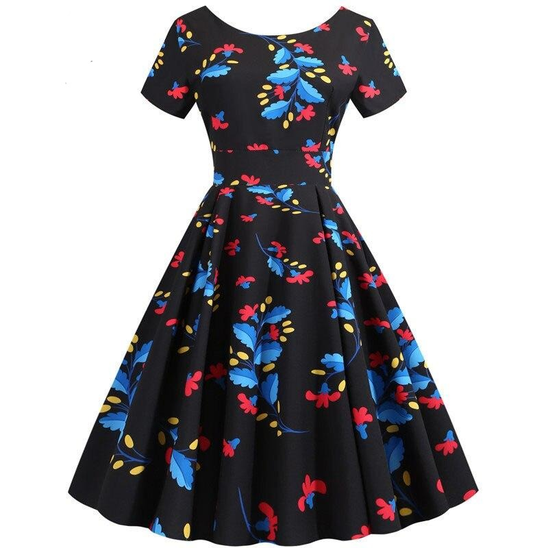 Summer Floral Print Elegant A-line Party Dress Women Slim White Short Sleeve Swing Pin up Vintage Dresses Plus Size Robe Femme