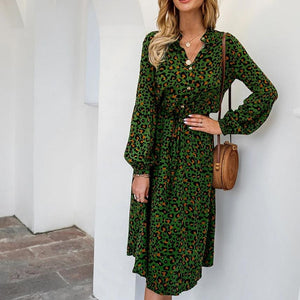 New Ladies Boho Leopard Dress Women Summer Spring Autumn Casual Long Beach Dress Loose Sexy Women Party Dresses Female Vestidos