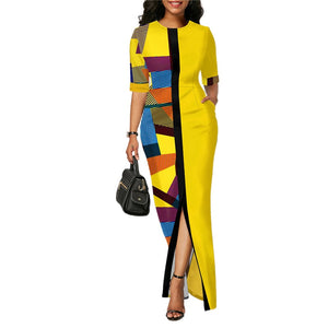 Ladies Fashion Half Sleeve Dress Women Elegant Round Collar Geometric Printing Splicing Temperament Maxi Dress For Ball Party