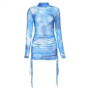 Kliou sexy skinny mesh mini bodycon dress bandage turtlene summer fashion female outfit dresses for women long sleeve streetwear